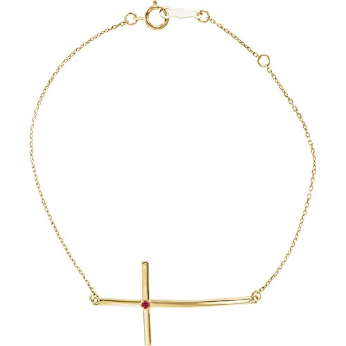 14k Yellow Gold Ruby Sideways Cross Bracelet ()