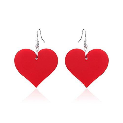 Lureme Acrylic Heart Dangle Earrings for Women and Girls-Red (er005558-3) (Red Heart Earrings)