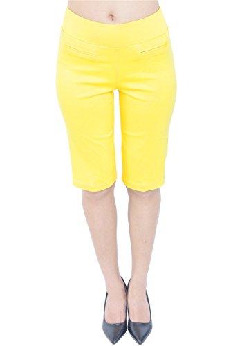 PattyCandy Womens Yellow Comfort Fit Pull-On Bermuda Shorts, Yellow - (Yellow Bermuda)