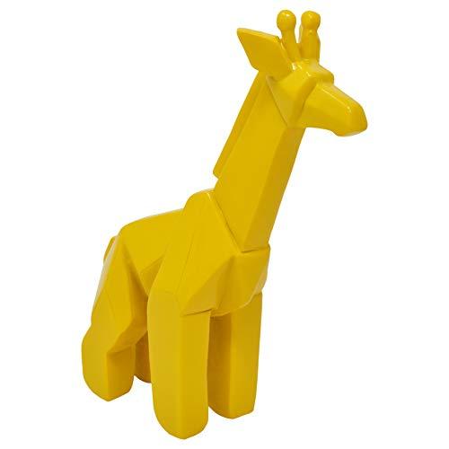 Drew Derose Tall Origami Giraffe Carved Yellow 7 x 5 Resin Stone Collectible Figurine