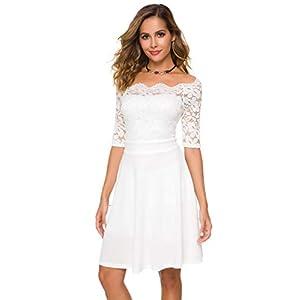 Best Epic Trends 310cZ04eVvL._SS300_ Atnlewhi Womens Vintage Floral Lace Off Shoulder Short Sleeve Swing Dresses Bridesmaid Mini Dress for Party Cocktail