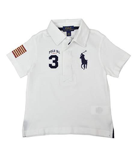 Polo Ralph Lauren Boys Toddlers Big Pony USA Polo Shirt White Blue (5) (Usa Polo Ralph Lauren)