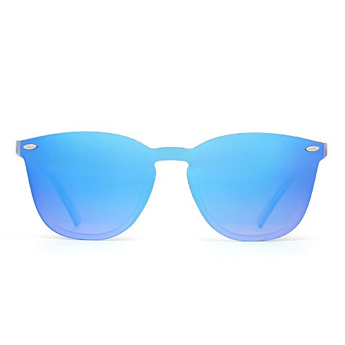 Rimless Wayfarer Sunglasses One Piece Mirror Reflective Eyeglasses for Men Women (Matte Transparent / Mirror Gradient Blue) Blue Eyewear