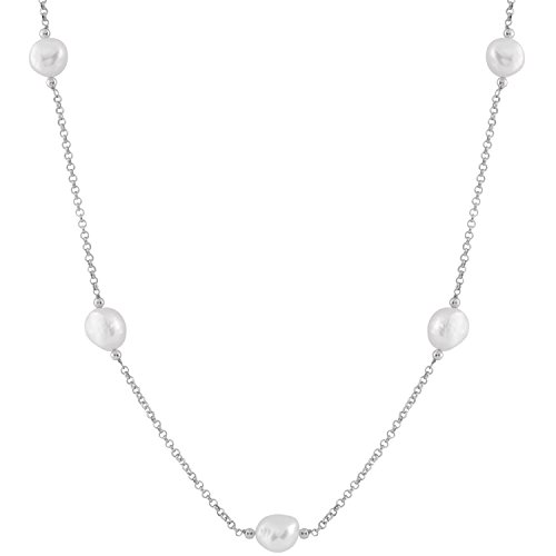 Tin Cup Station Sterling Silver Chain 7 10-11mm Baroque Freshwater Cultured Pearls Opera Necklace 22