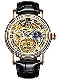 BINGER Men's Watch Automatic Mechanical Stainless Steel Skeleton Leather Band (Gold and White)
