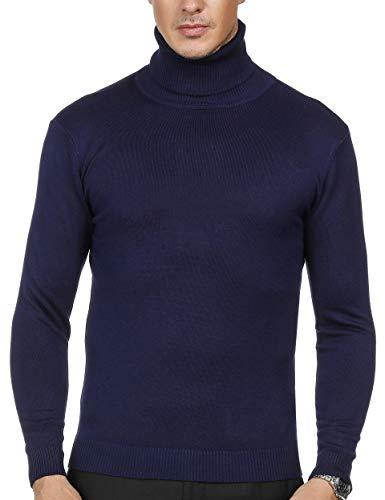 PAUL JONES Mens Slim Fit Casual Ribbed Turtleneck Pullover Sweater XL Blue