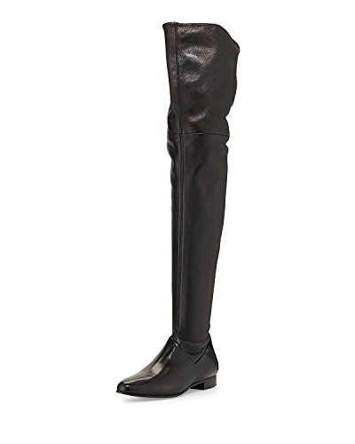 Knee Thigh Black Ridding High Boots Over the Black Stretch AIWEIYi Flats Womens Suede Shoes qHt1tA
