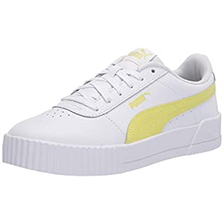 PUMA Women's Carina Sneaker, White-Sunny Lime-Sunny Lime, 5.5 M US