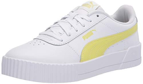 PUMA Women's Carina Sneaker, White-Sunny Lime-Sunny Lime, 10 M US