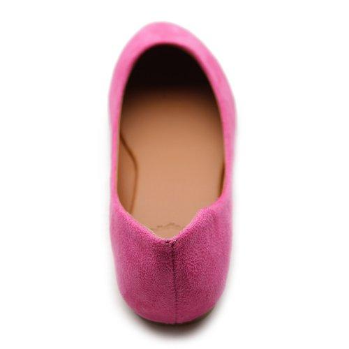 Ollio Frauen Schuh Ballett Licht Faux Wildleder Low Heels Flat Rosa