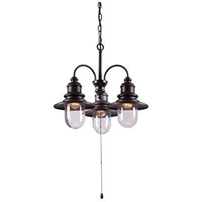Kenroy Home 93033ORB  Broadcast 3-Light Outdoor Chandelier, Blackened Oil Rubbed Bronze - Hanging chandelier for Outdoor Use Stylish design complements any room Clear glass shades - kitchen-dining-room-decor, kitchen-dining-room, chandeliers-lighting - 310cda09KFL. SS400  -