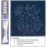 (Sashiko Fabric Kit - Pre-printed design on Indigo - Sashiko Sampler 14