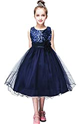 Girls Sleeveless Sequin Ball Gown