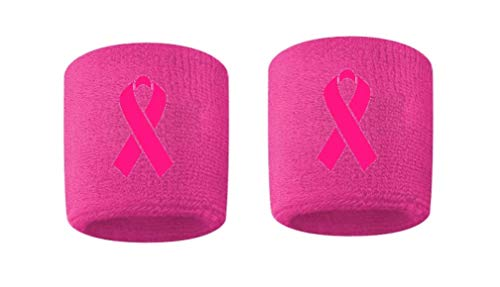 Breast Cancer Awareness Embroidered/Stitched Sweatband Wristband Pink Sweat Band w/Pink Ribbon (2 Pack)