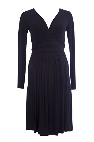 Olian Maternity Women's Criss Cross Sash Around Long Sleeve Dress X-Small Black
