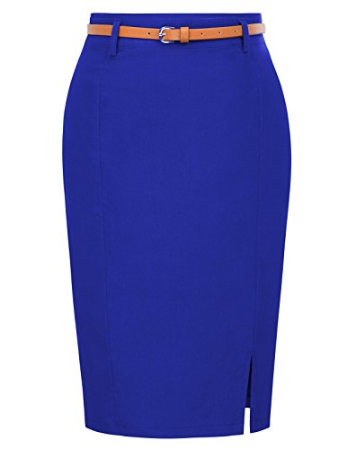 Women's Elastic Midi Pencil Skirt with Belt for Casual Size XL Dark Blue KK856-6
