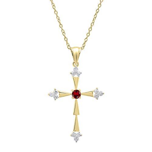(Dazzlingrock Collection 14K Round Garnet & White Diamond Ladies Cross Pendant, Yellow Gold)