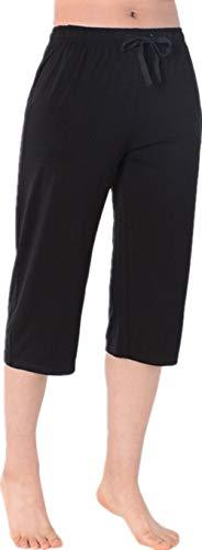 Nuosha-BABY Womens Pajama Capri Pants Soft Sleepwear Bottoms with Big Pockets Black -