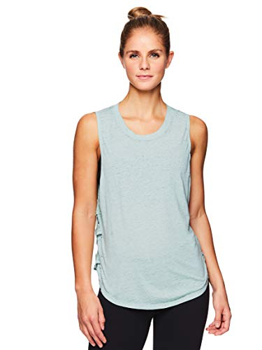 - Gaiam Women's Flowy Yoga Tank Top - Sleeveless Performance Workout Shirt w/Strappy Side Detail - Sage Green, X-Small
