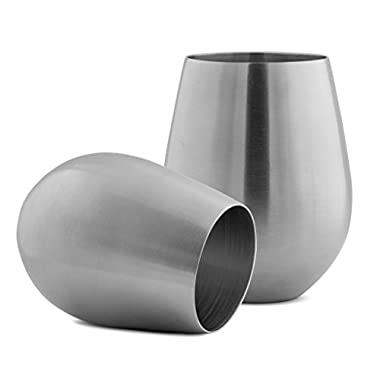 Modern Innovations Stainless Steel Stemless Wine Glasses, Set of 2, 18 Oz Made of Unbreakable BPA Free Shatterproof SS That Is Dishwasher Safe Great for Daily, Formal & Outdoor Use, Camping & Picnics