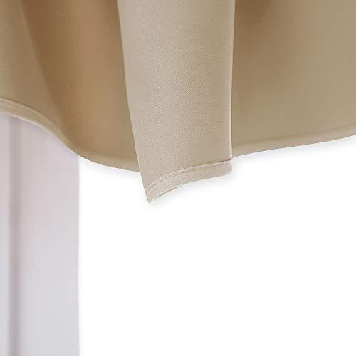 NICETOWN Room Darkening Window Valance - Home Fashion Solid 52-inch by 18-inch Ascot Rod Pocket Valance (Biscotti Beige, One Panel)