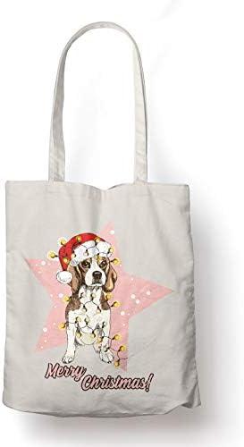 BLAK TEE Cute Beagle Puppy with A Santa Hat Organic Cotton Reusable Shopping Bag Natural