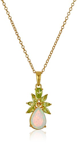 18k Yellow Gold Plated Sterling Silver Created Opal and Genuine Peridot Pineapple Pendant Necklace, 18
