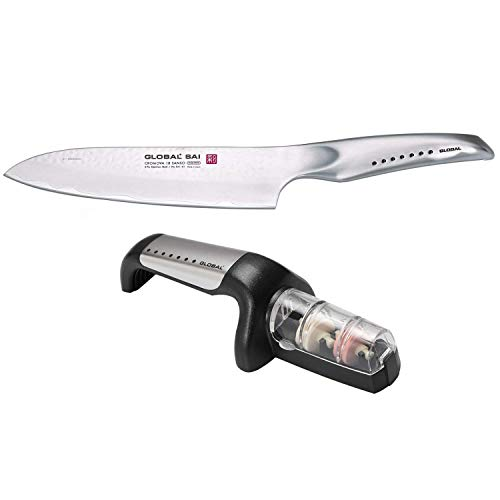 Global SAI 7-1/2-Inch Chef's Knife with Minosharp 2-Stage Ceramic Knife Sharpener ()