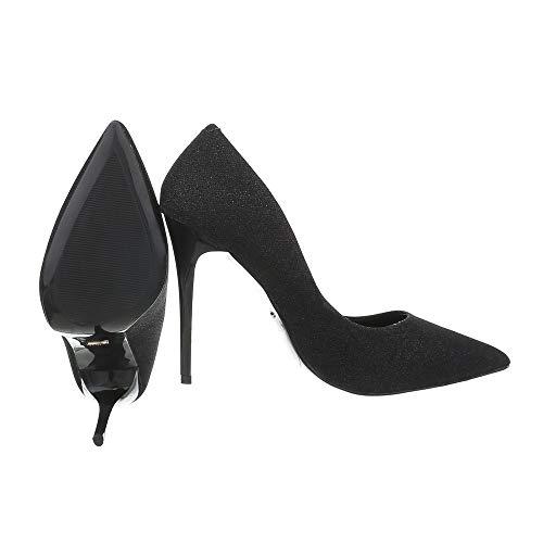 Femme design Ital Chaussures Schwarz Compensées Gh11303 UqngOPtgw