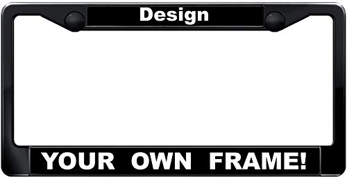 Custom Personalized Black Plastic Car License Plate Frame with Free caps - Black/White