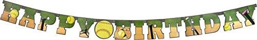 Softball Party Supplies (Softball Happy Birthday Banner (Large, 7