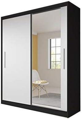 Meublo Armoire Penderie Avec 2 Portes Coulissantes L X H X P 183x218x61 Tess Noir Blanc Amazon Fr Cuisine Maison