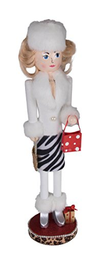 Clever Creations Woman Shopping Christmas Nutcracker White Fur Coat and Zebra Print Skirt | Festive Decor | Purse & Red Polka Dot Gift Bag | 100% Wood | Perfect for - Coat Nutcracker