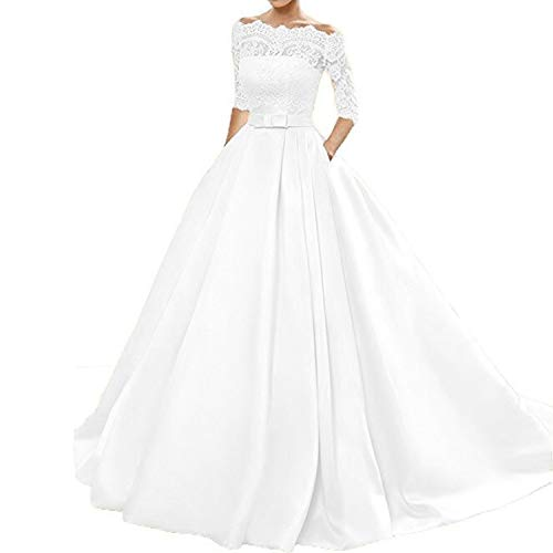 onlinedress Women's Lace Wedding Dress 3/4 Sleeves Sweep Train Satin Bridal Gown Size10 Ivory