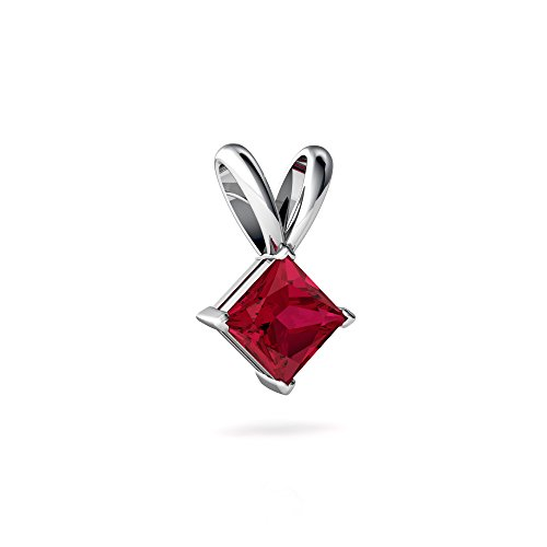 14kt White Gold Lab Ruby 5mm Square Solitaire Pendant