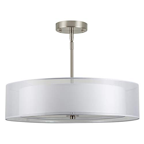 - Grazia 20 inch 3 Light Drum Chandelier Ceiling Light - Brushed Nickel - Linea di Liara LL-P117-BN