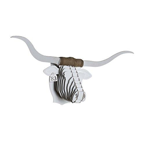 White Birch Head - Cardboard Safari Recycled Cardboard Animal Taxidermy Longhorn Trophy Head, Tex White Medium