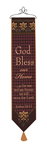 (Manual Woodworkers & Weavers Tapestry Bell Pull, God Bless Our Home with)