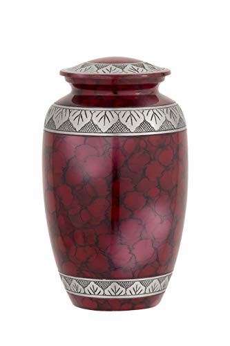 Enshrined Memorials Cremation Urn for Ashes - Electra Series Affordable Solid Aluminum Metal Quality Handcrafted for Human Funeral Burial Large 10 inch, Red Cloud with Leaves