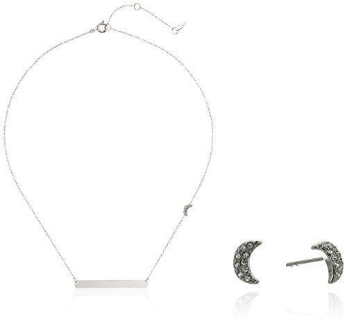 Fossil Crescent Moon Studs and Plaque Gift Set Pendant Necklace, Silver Tone
