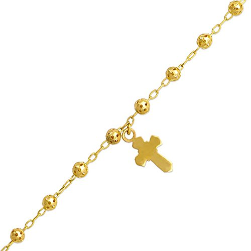 14K Gold Tri-color or Yellow Gold Chain 4mm Bead Cross Charm Rosary Bracelet (7, 7.5 Inches), 7""