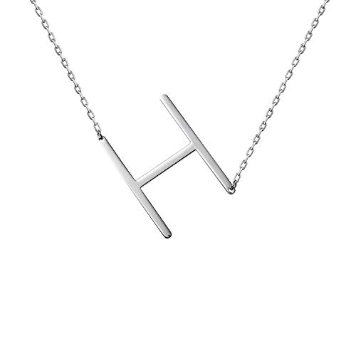 WIGERLON Stainless Steel Initial Letters Necklace for Women and Girls Color Gold and Silver from A-Z Letter H Color Sliver