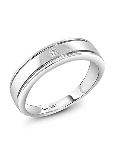 Diamond Gemstone Bands (Gem Stone King 10K Solid White Gold Men's White Solitaire Diamond Wedding Anniversary Ring (Size 10))