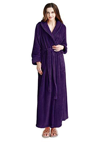 Belted Terry Belt - Womens Long Thick Fleece Robe Warm Waist Belt Super Soft Spa Plush Full Length Bathrobe Shawl Collar (Large/XLarge, Purple)