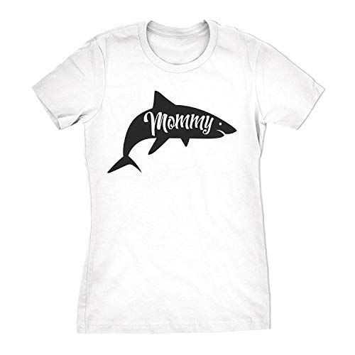 - Womens Mommy Shark Tshirt Cute Family Tee for Ladies (White) - S