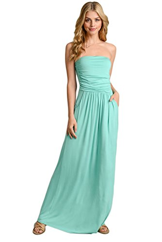 Long Mint (Vanilla Bay Signature Womens Strapless Maxi Dress with Pockets (Large, Minty Mint))