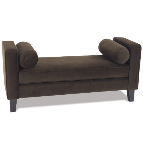 AVE SIX Curves Bench with Solid Wood Legs and 2 Bolster Pillows, Chocolate Velvet Fabric by Avenue Six