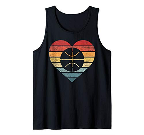 Funny Basketball Player Gifts Retro Sunset Ball BBall Coach Tank ()