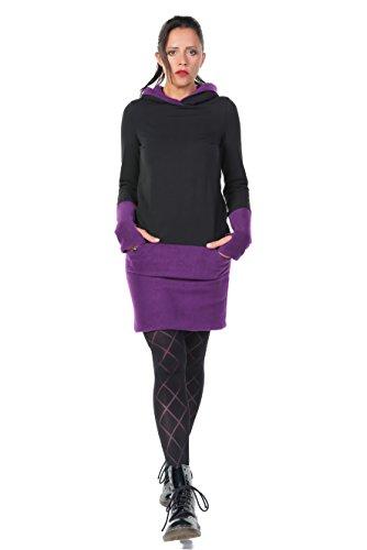 3Elfen vestito cappuccio donna casual con pile Nero Porpora