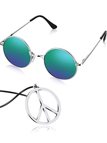 Tatuo Hippie Dressing Accessory Set Hippie Glasses and Peace Sign Necklace (Green) ()